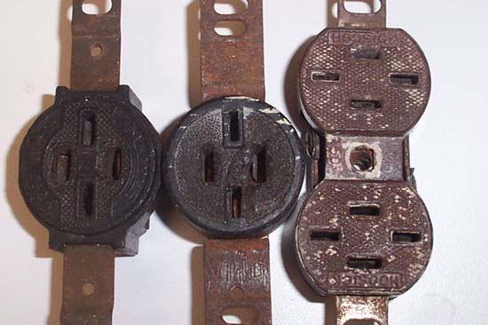 outdated ungrounded outlets used with knob and Tube