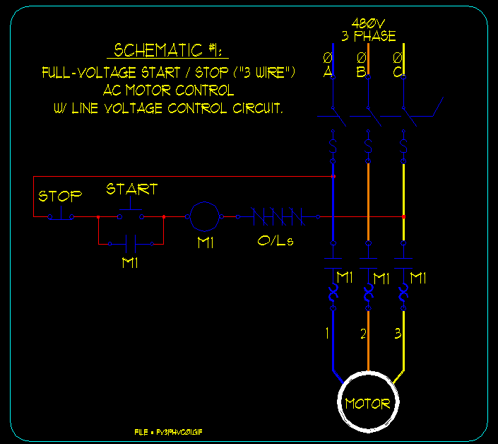 Basic StartStop AC Motor Control Schematics ECN Electrical Forums