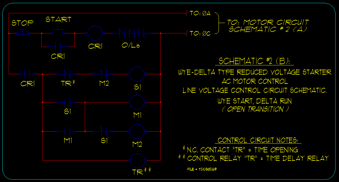 wye delta motor starting schematics ecn electrical forums schematic 2 b wye delta open transition type starter control circuitry
