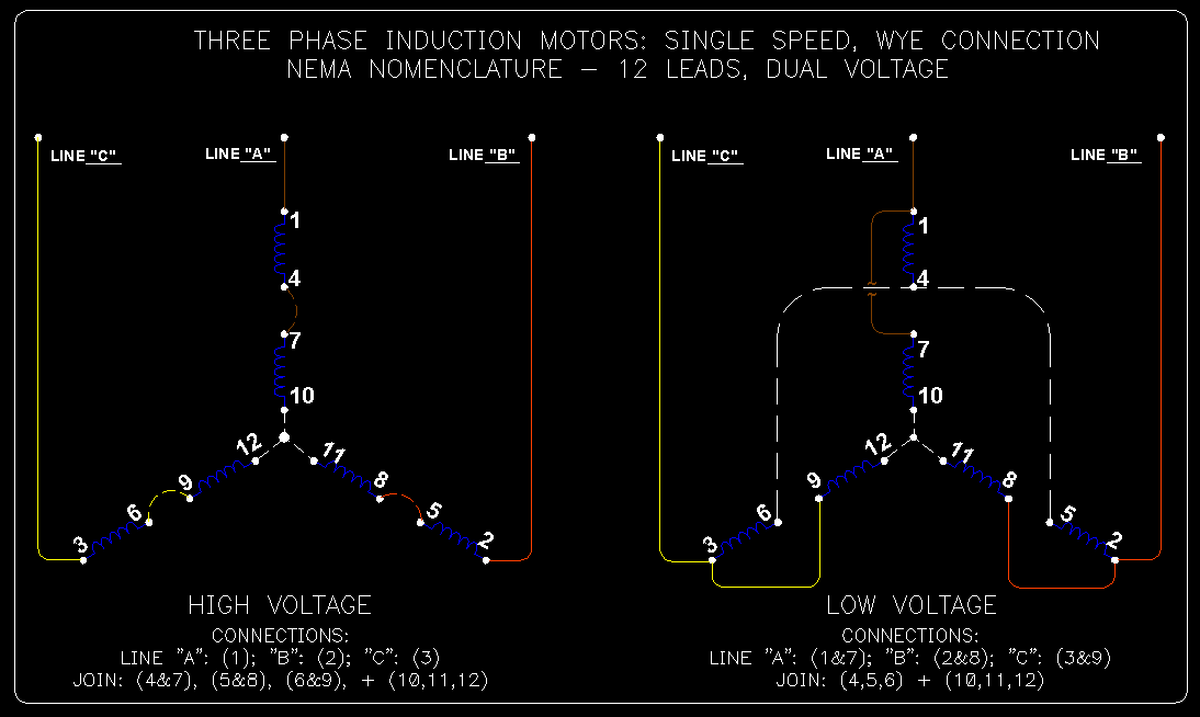 wye delta connection detail schematics ecn electrical forums 1 6 connections details for single speed dual voltage wye connected 12 lead motors connections for high and low voltage